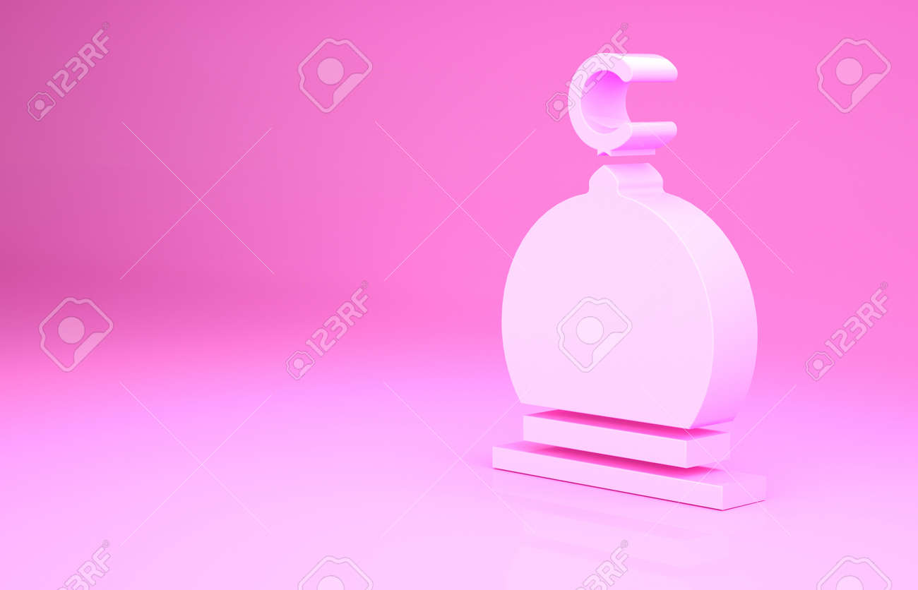 Pink Muslim Mosque icon isolated on pink background. Minimalism concept. 3d illustration 3D render - 169797767