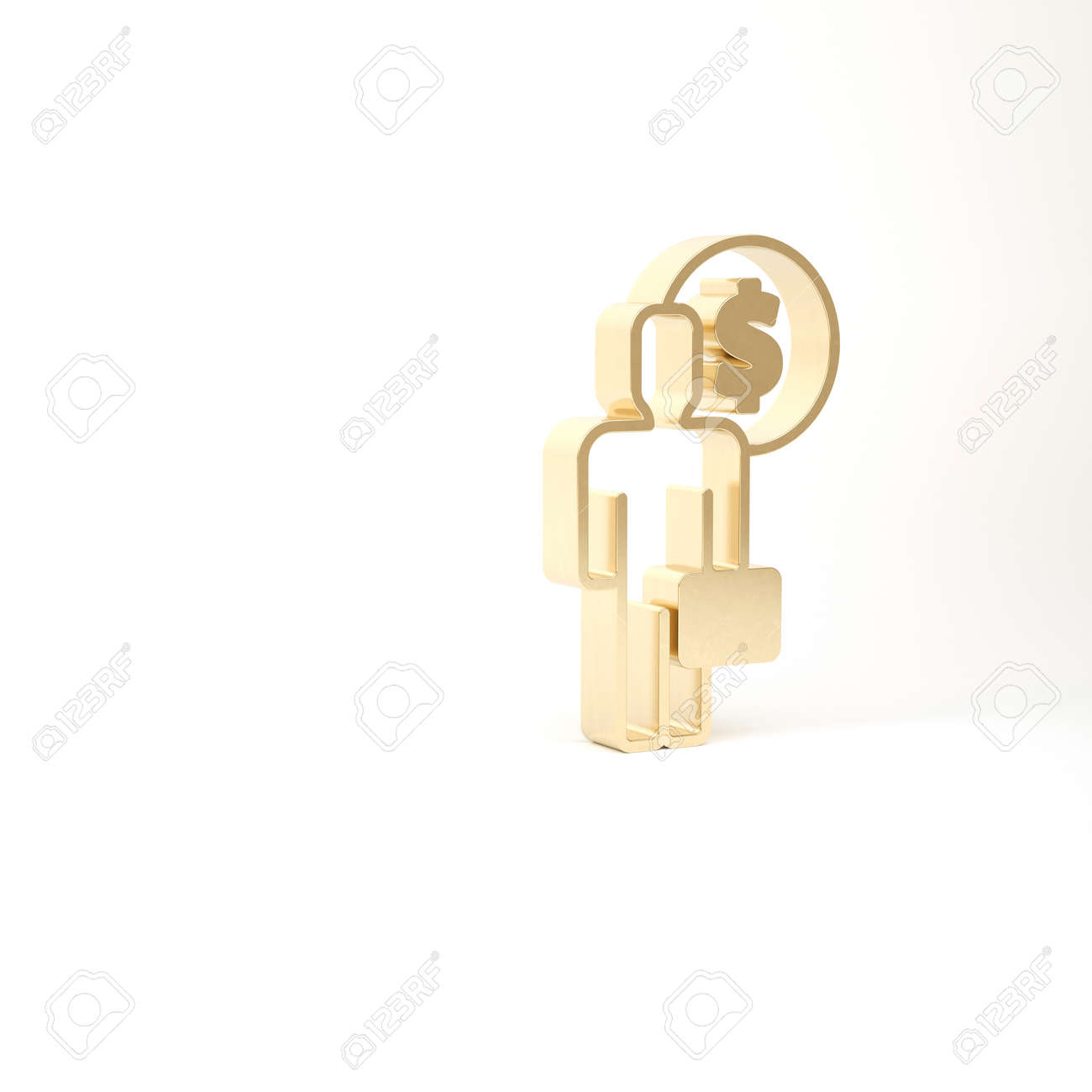 Gold Business man planning mind icon isolated on white background. Human head with dollar. Idea to earn money. Business investment growth. 3d illustration 3D render - 169803350