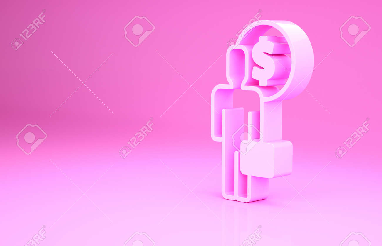 Pink Business man planning mind icon isolated on pink background. Human head with dollar. Idea to earn money. Business investment growth. Minimalism concept. 3d illustration 3D render - 169803351