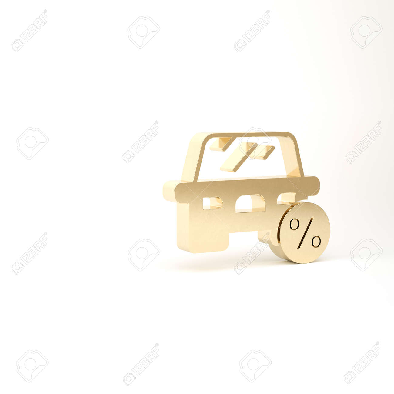 Gold Car leasing percent icon isolated on white background. Credit percentage symbol. 3d illustration 3D render - 169803355