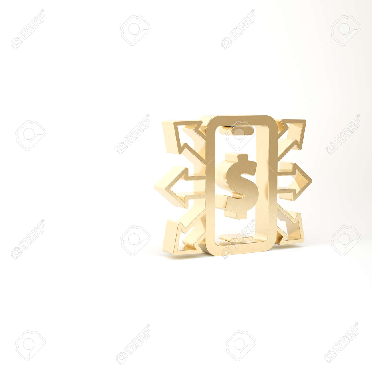 Gold Smartphone with dollar symbol icon isolated on white background. Online shopping concept. Financial mobile phone icon. Online payment. 3d illustration 3D render - 169803357