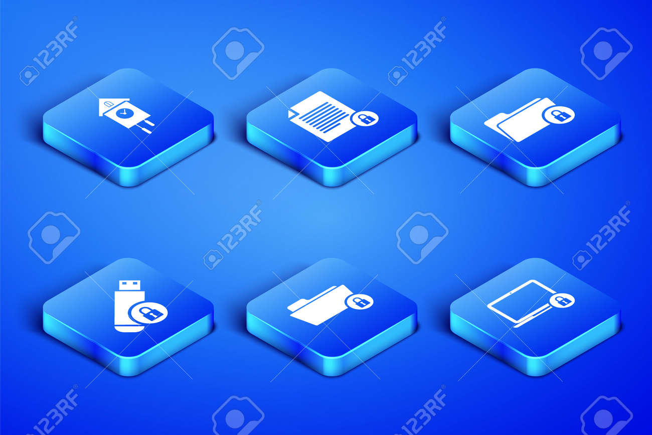 Set Laptop and lock, Retro wall watch, Folder, USB flash drive with, Document icon. Vector - 171805824