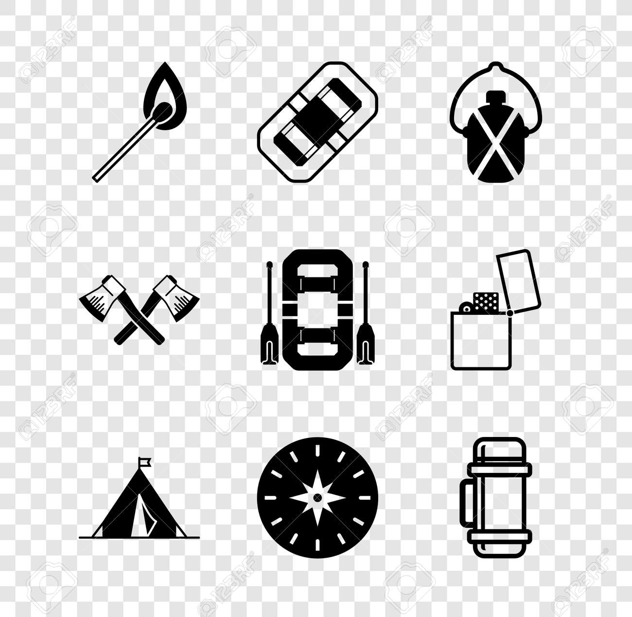 Set Burning match with fire, Rafting boat, Canteen water bottle, Tourist tent flag, Compass, Crossed wooden axe and icon. Vector - 171781028