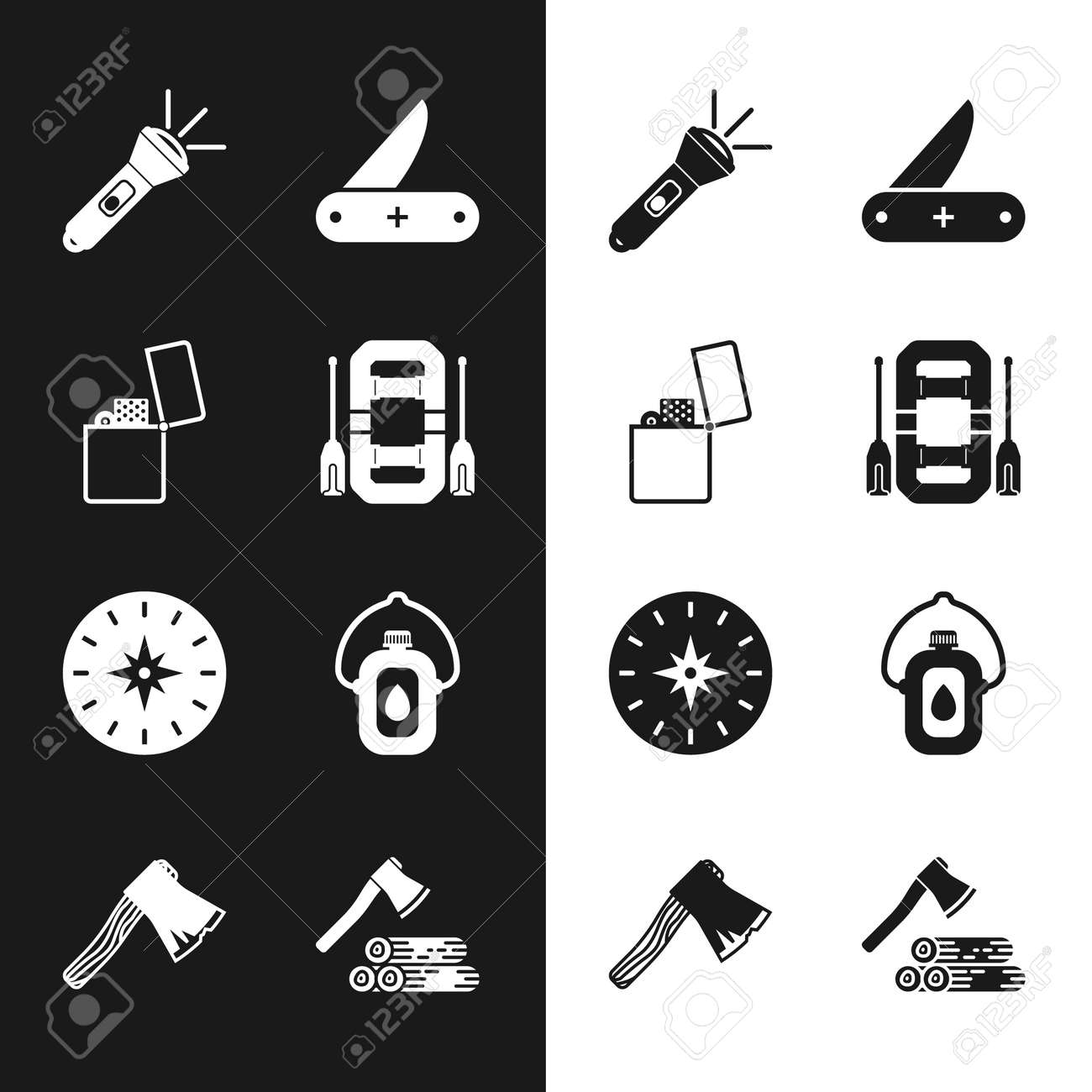 Set Rafting boat, Lighter, Flashlight, Compass, Canteen water bottle, Wooden axe and wood and Old wooden icon. Vector - 171781050