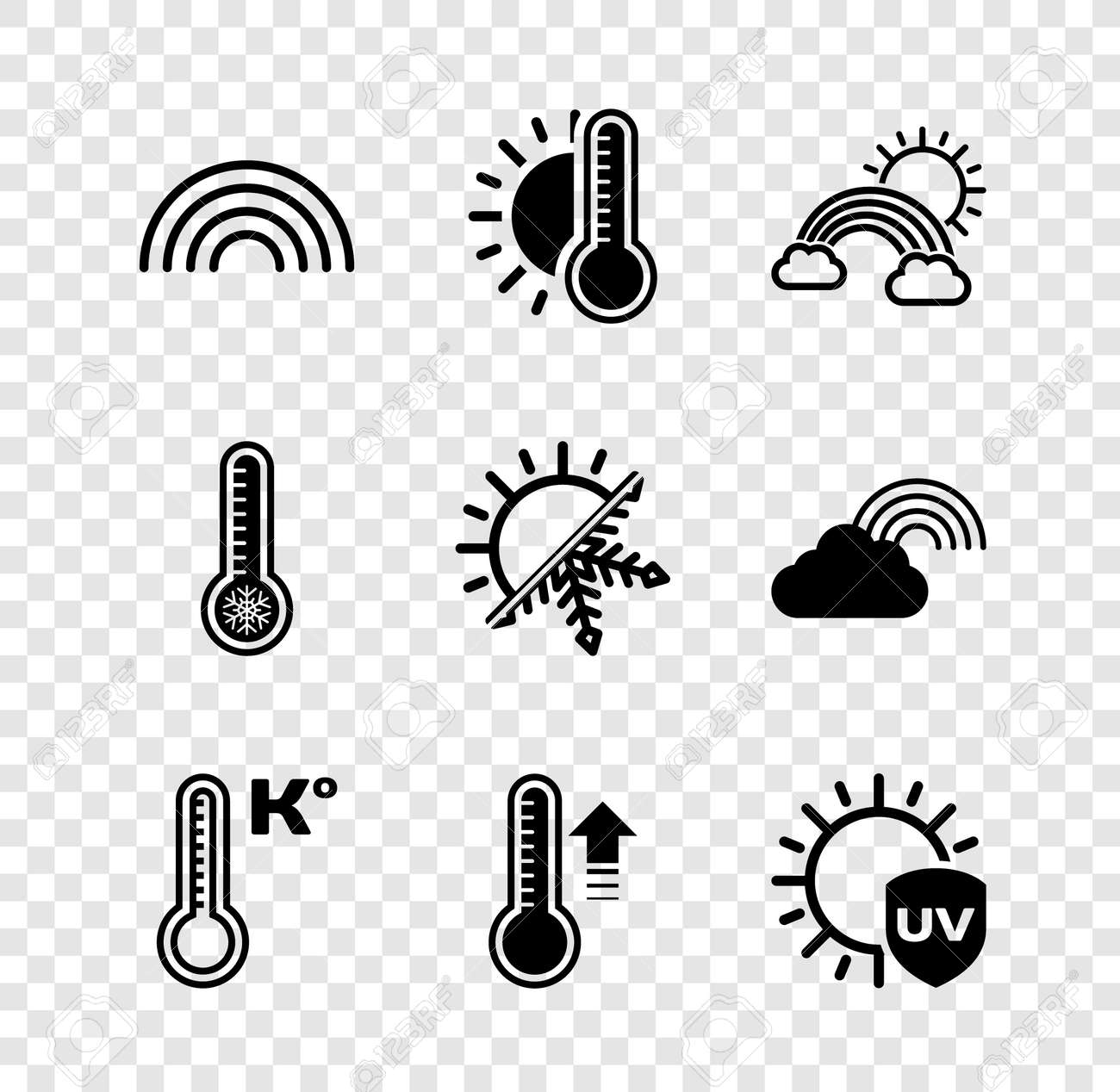 Set Rainbow, Thermometer with sun, clouds, Meteorology thermometer, UV protection, and Sun snowflake icon. Vector - 171781066