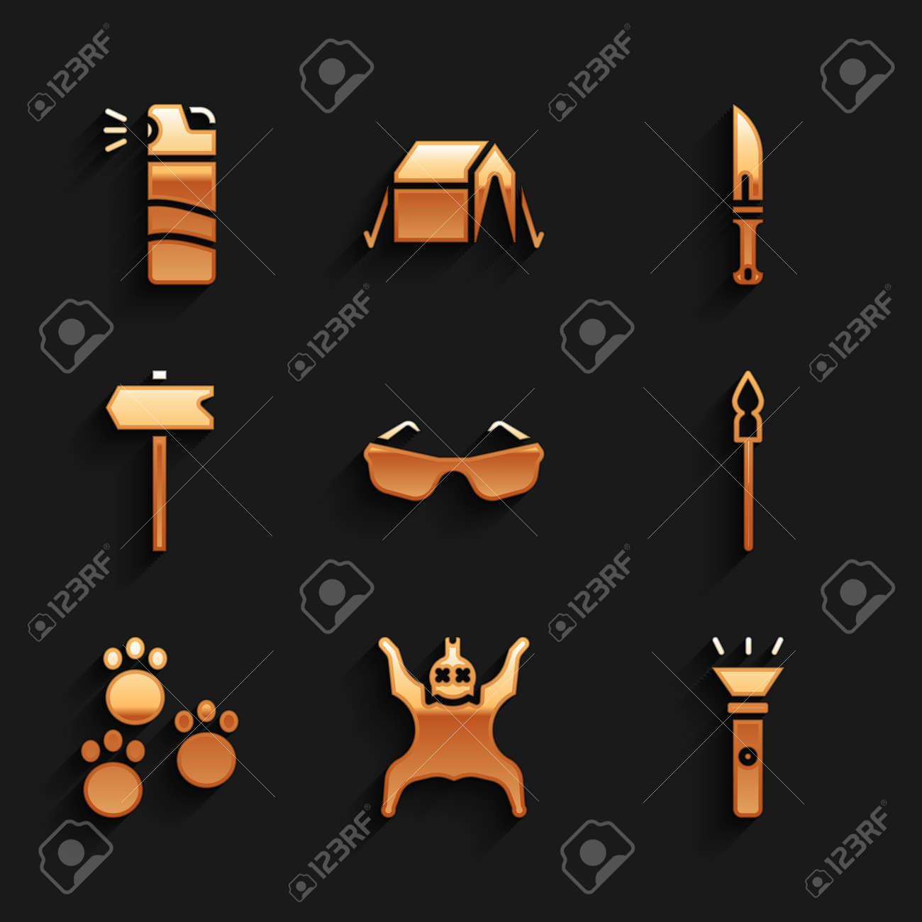 Set Glasses, Bear skin, Flashlight, Medieval spear, Paw print, Road traffic sign, Hunter knife and Pepper spray icon. Vector - 171781104