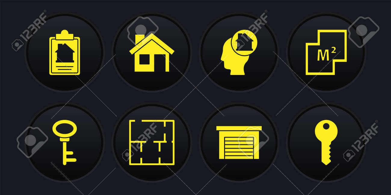 Set House key, plan, Garage, Man dreaming about buying house, and contract icon. Vector - 171781116
