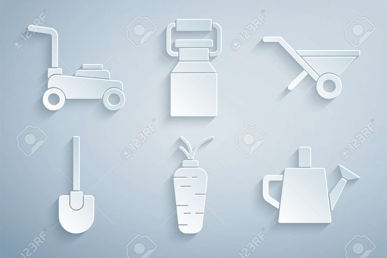 Set Carrot, Wheelbarrow, Shovel, Watering can, Can container for milk and Lawn mower icon. Vector - 171781071