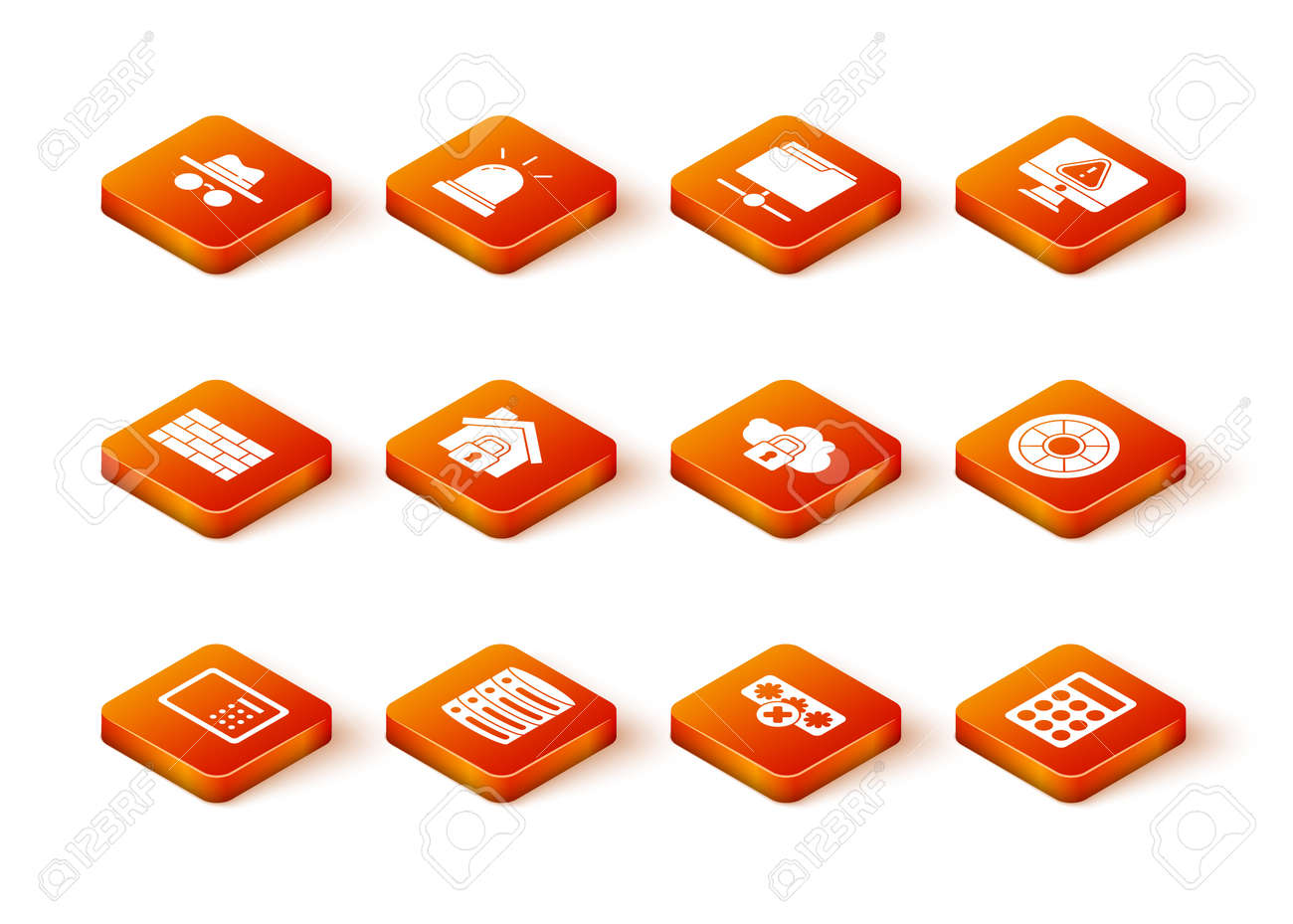 Set Safe, Server, Data, Web Hosting, Firewall, security wall, House under protection, Password, Cloud computing lock, and icon. Vector - 171781075