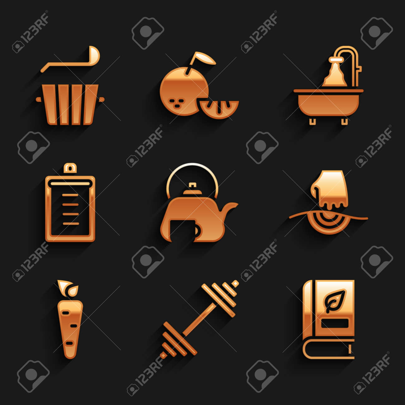 Set Teapot with cup, Dumbbell, Medical book, Massage, Carrot, Clipboard checklist, Bathtub and Sauna bucket and ladle icon. Vector - 171781080
