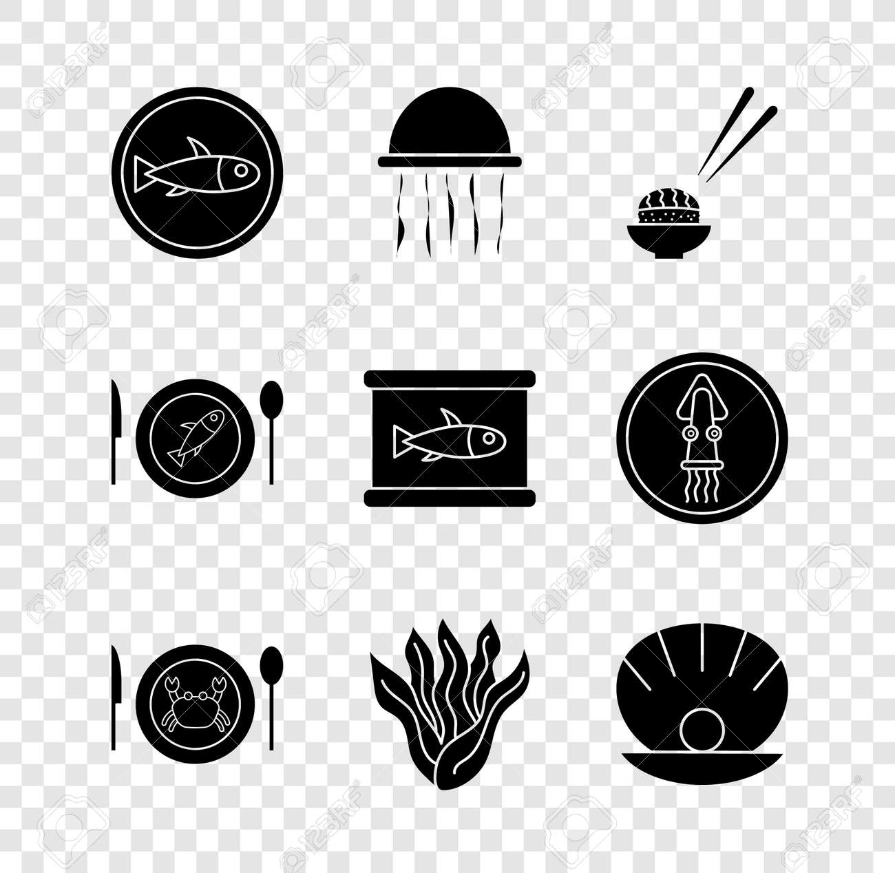 Set Served fish on a plate, Jellyfish, Sushi, crab, Seaweed, Shell with pearl, and Canned icon. Vector - 171781086