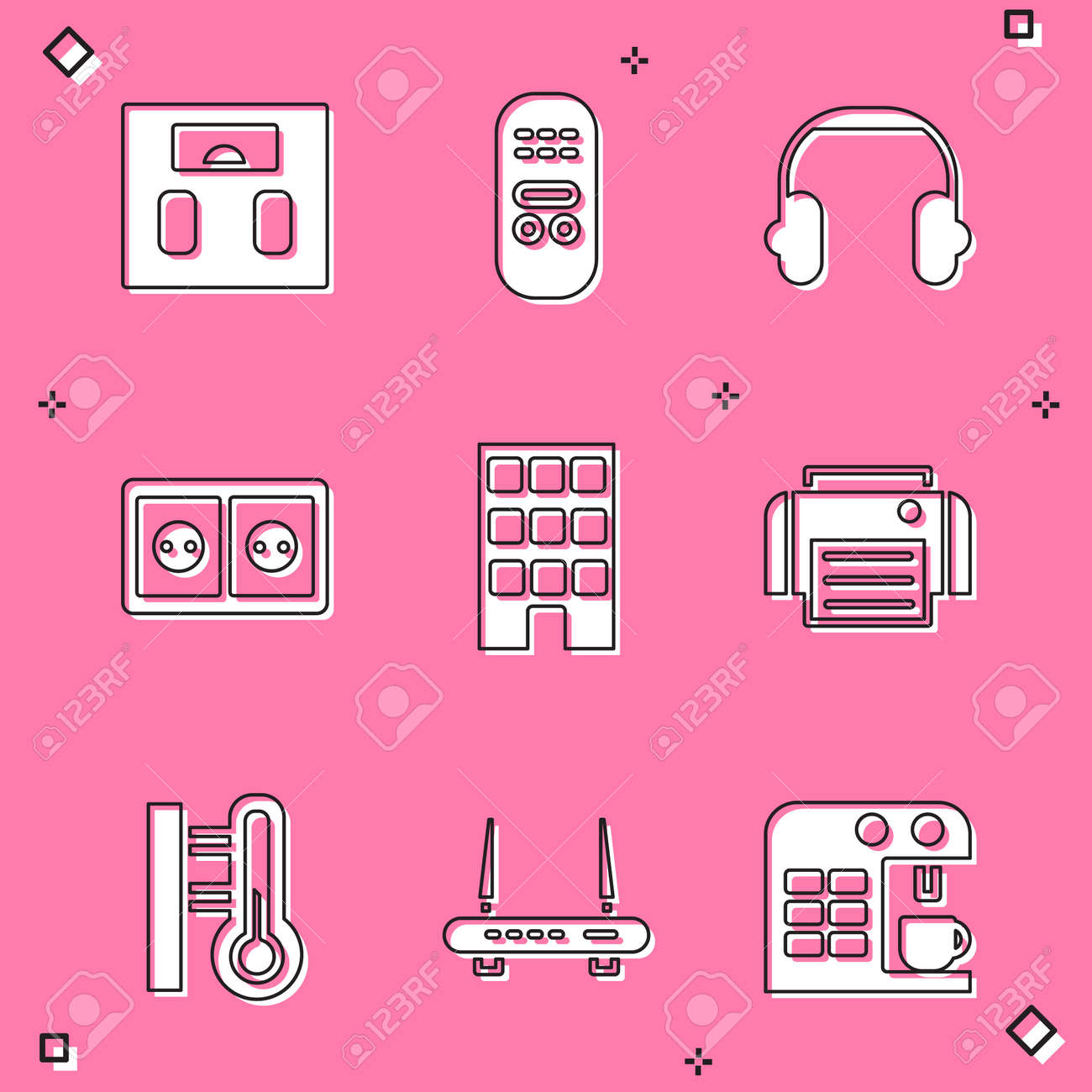 Set Bathroom scales, Remote control, Headphones, Electrical outlet, House, Printer, Meteorology thermometer and Router and wifi signal icon. Vector - 171781013