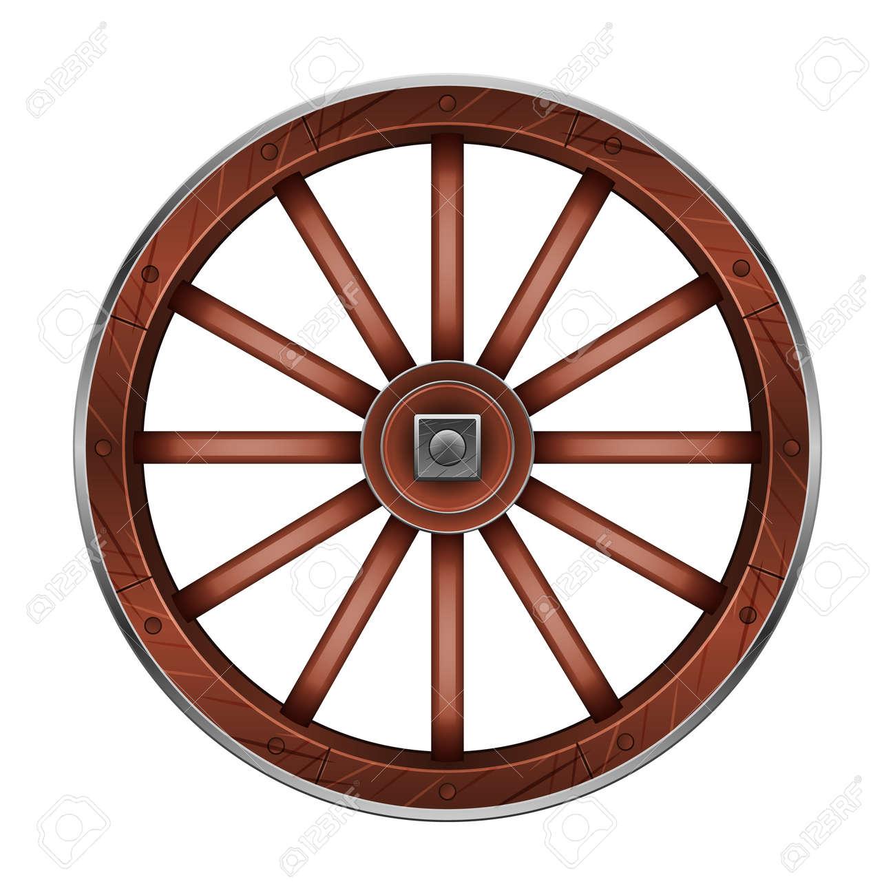 Wild west wheel vector icon.Cartoon vector icon isolated on white background wild west wheel. - 165028844