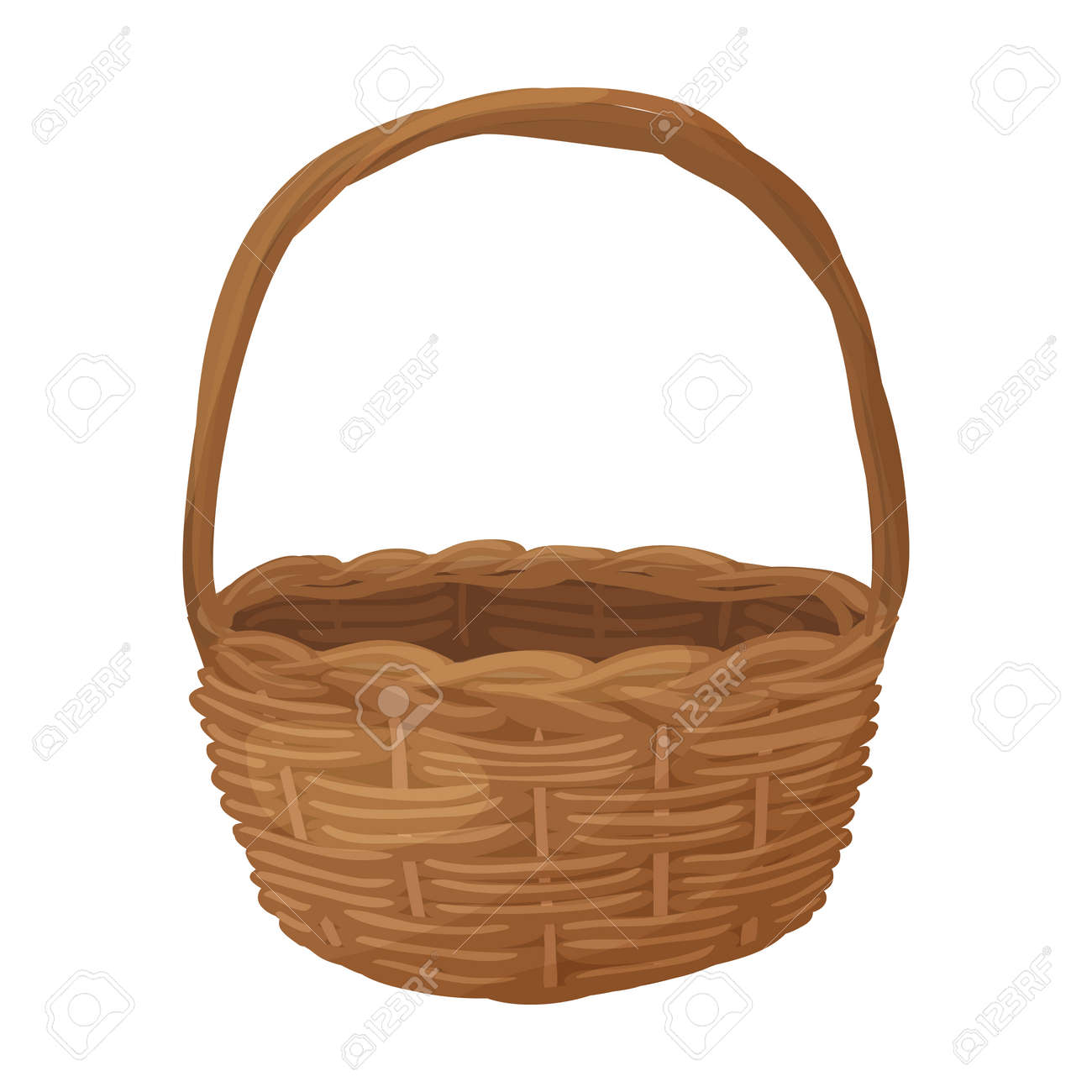 Wicker basket vector icon.Cartoon vector icon isolated on white background wicker basket. - 166572313