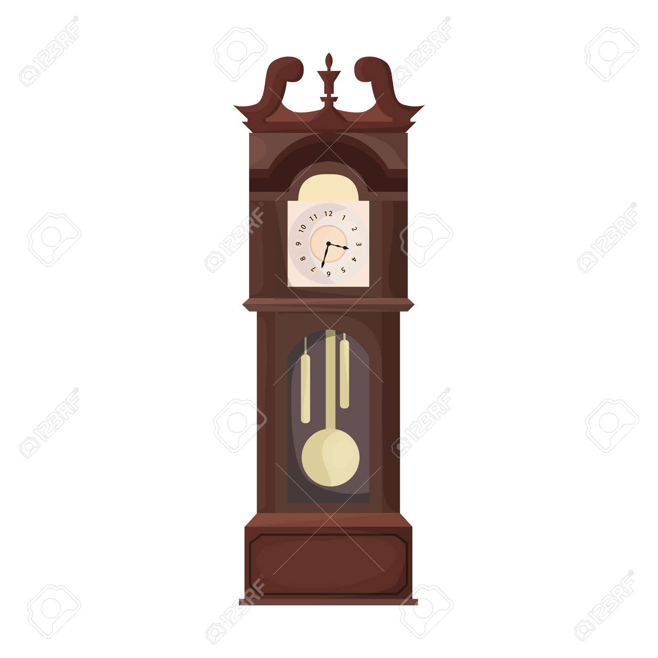 Antique clock isolated cartoon icon. Vector illustration old watch on white background. Vector cartoon illustration icon antique clock. - 167078741