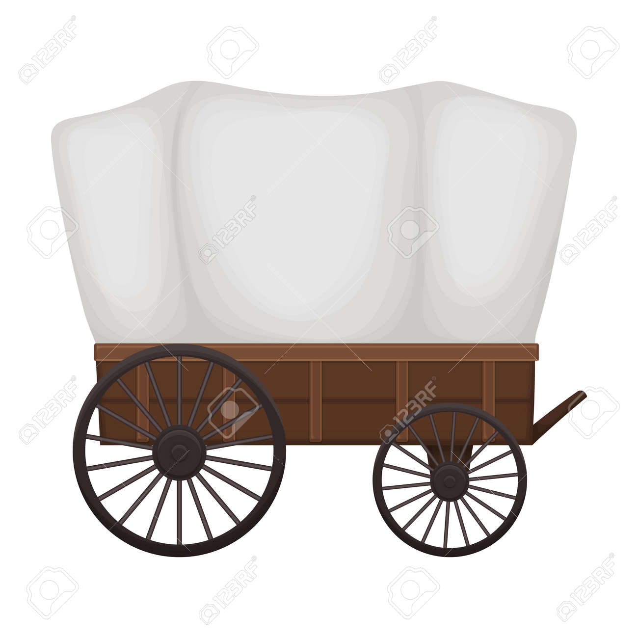 Wild west wagon cartoon vector icon.Cartoon vector illustration old carriage. Isolated illustration of wild west wagon icon on white background. - 167509817