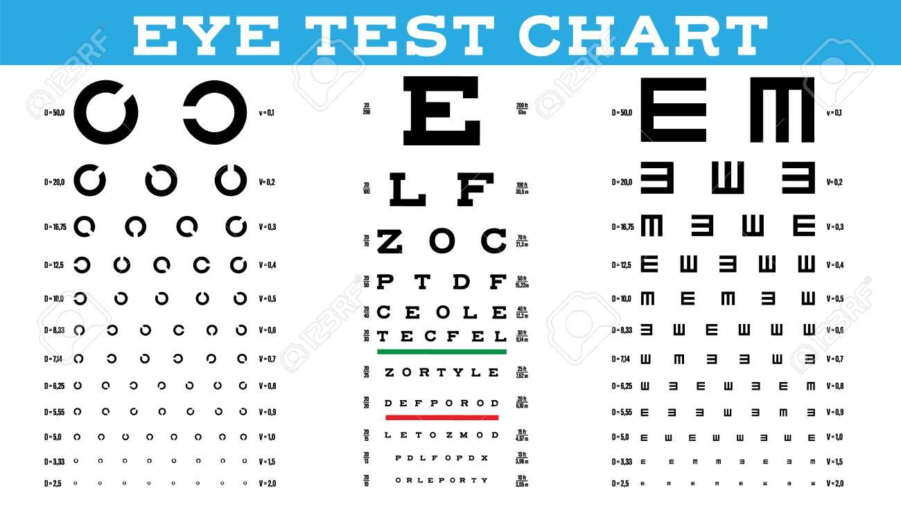 Eye Test Chart Set Vector Vision Test Optical Exam Healthy