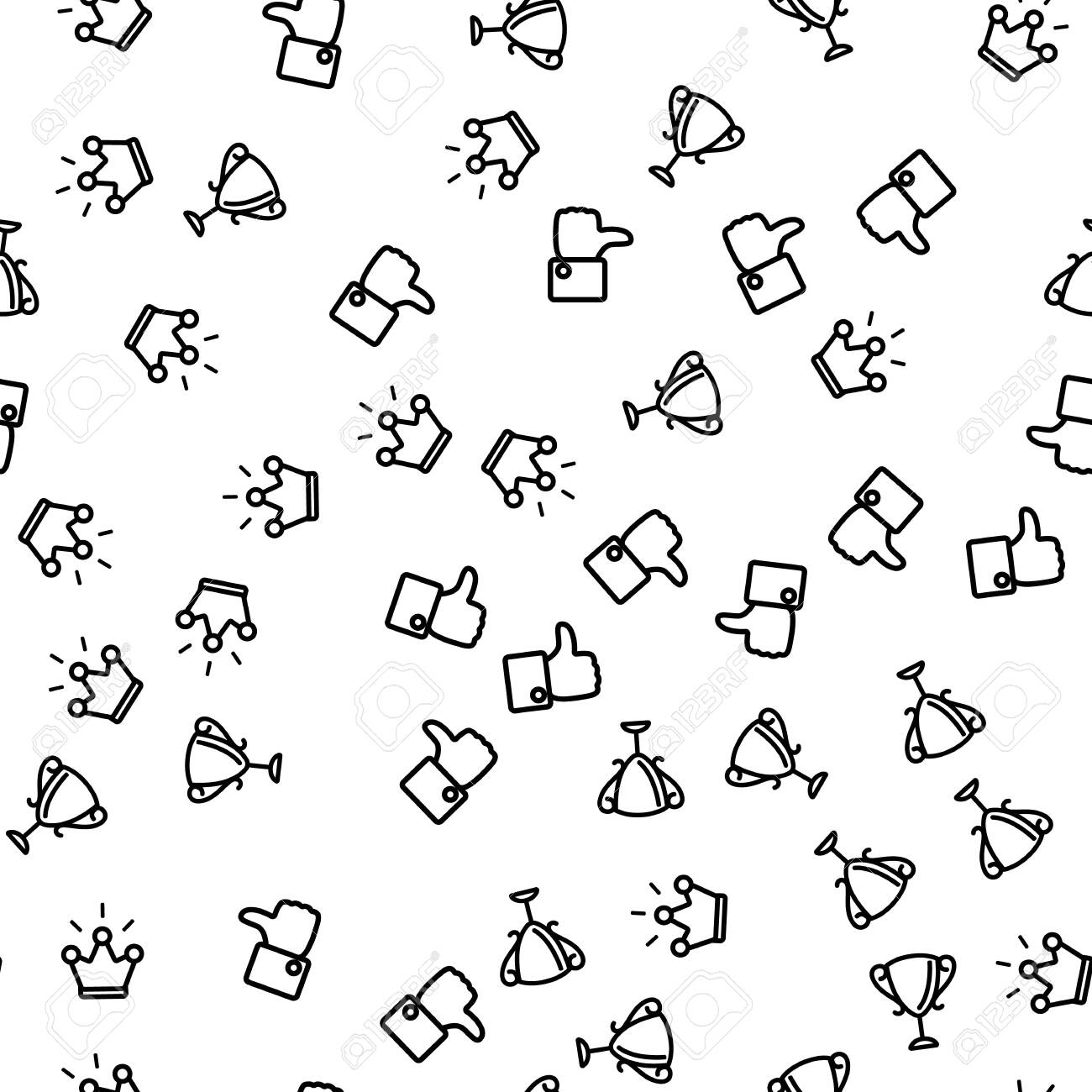 Congratulation Winner Seamless Pattern Vector. Thumb Up Applique, Cup Of Winner And Crown Monochrome Texture Icons. Victory Ceremony With Awards And Prize Template Flat Illustration - 122946181
