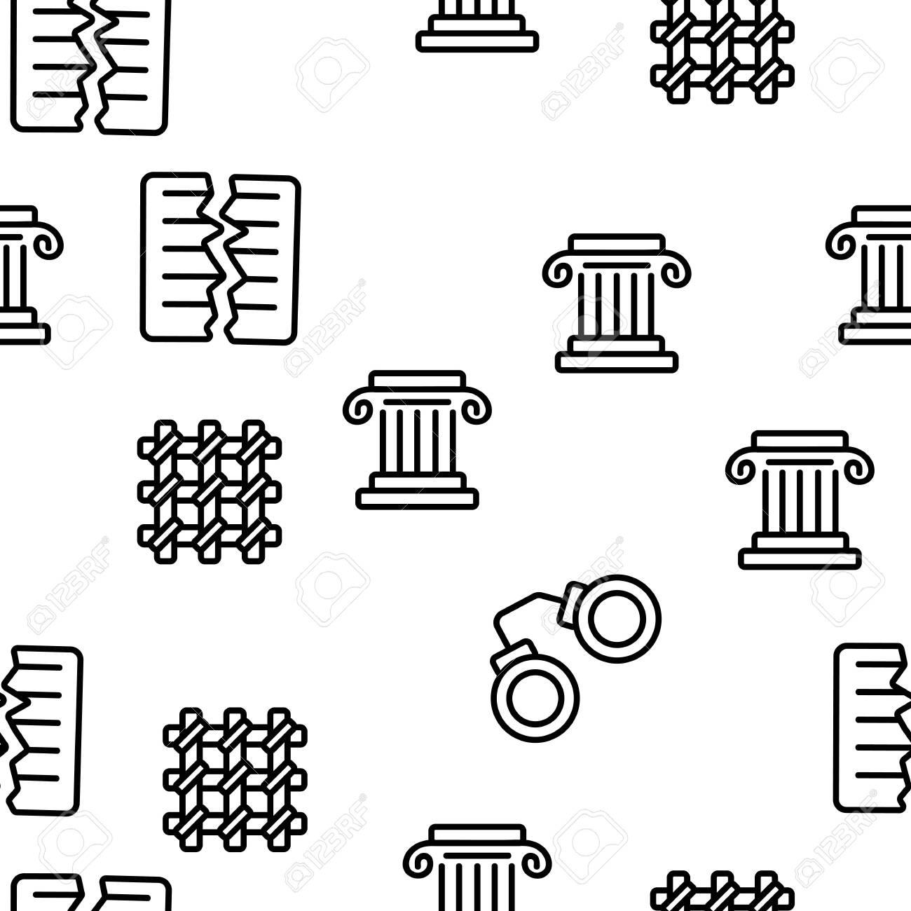 Judgement, Court Process Vector Seamless Pattern Contour Illustration - 129205708