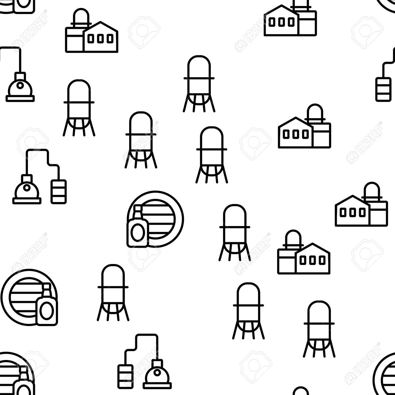 Whisky Alcoholic Drink Vector Seamless Pattern Thin Line Illustration - 151904452