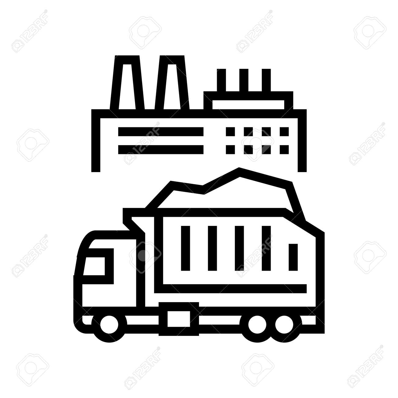 garbage truck and plant line icon vector. garbage truck and plant sign. isolated contour symbol black illustration - 156887671