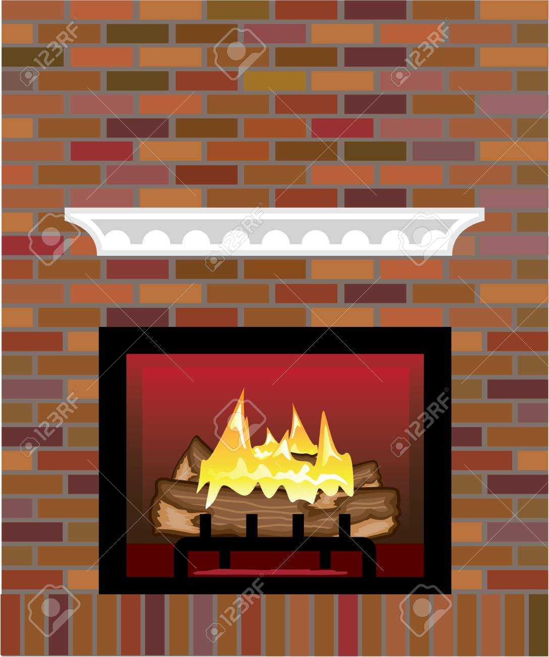 Brick Fireplace Vector Illustration Clip Art Image Royalty Free