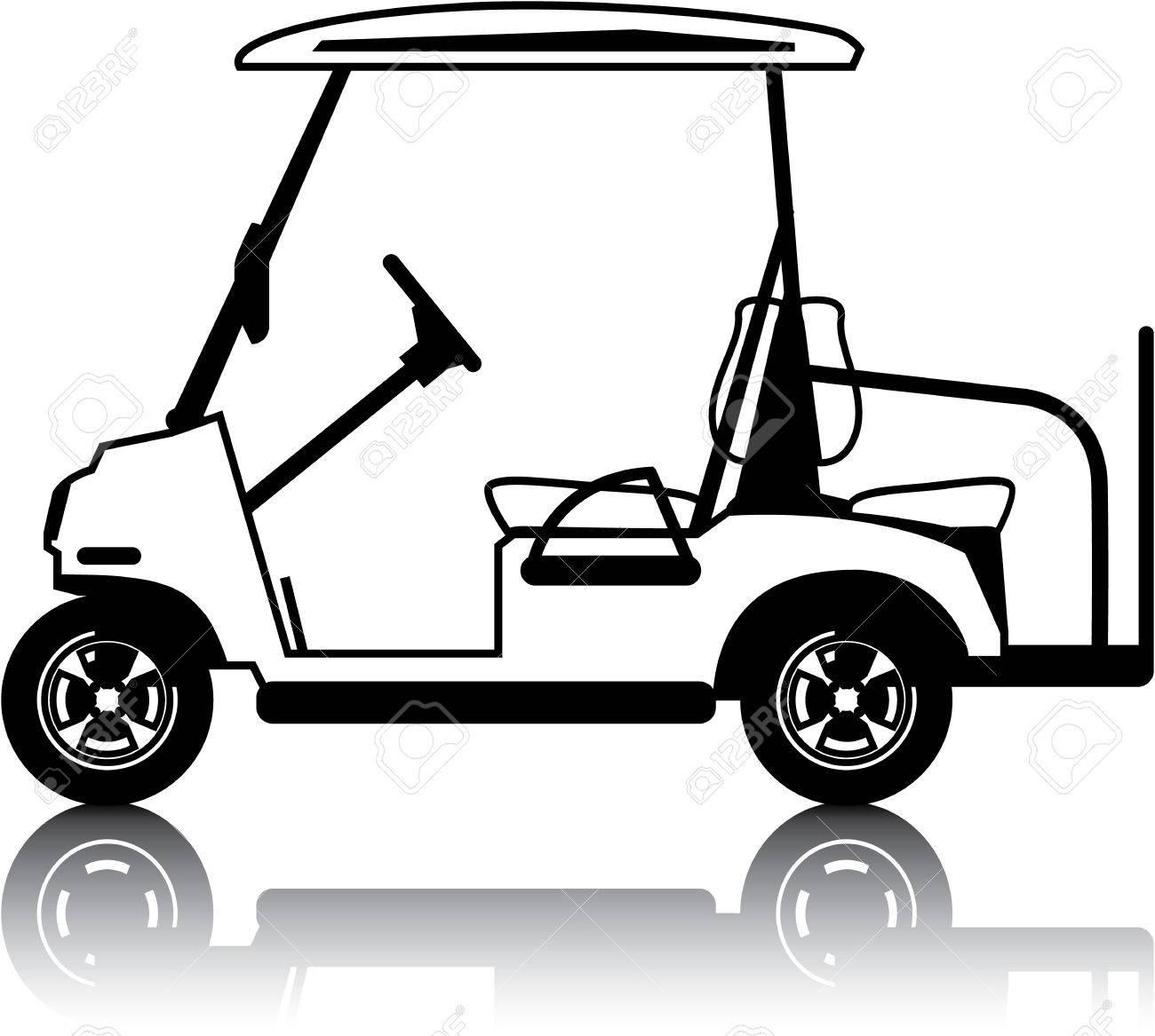 white golf cart vehicle clip art vector image royalty free cliparts rh 123rf com clipart golf cart images golf cart clip art cartoons