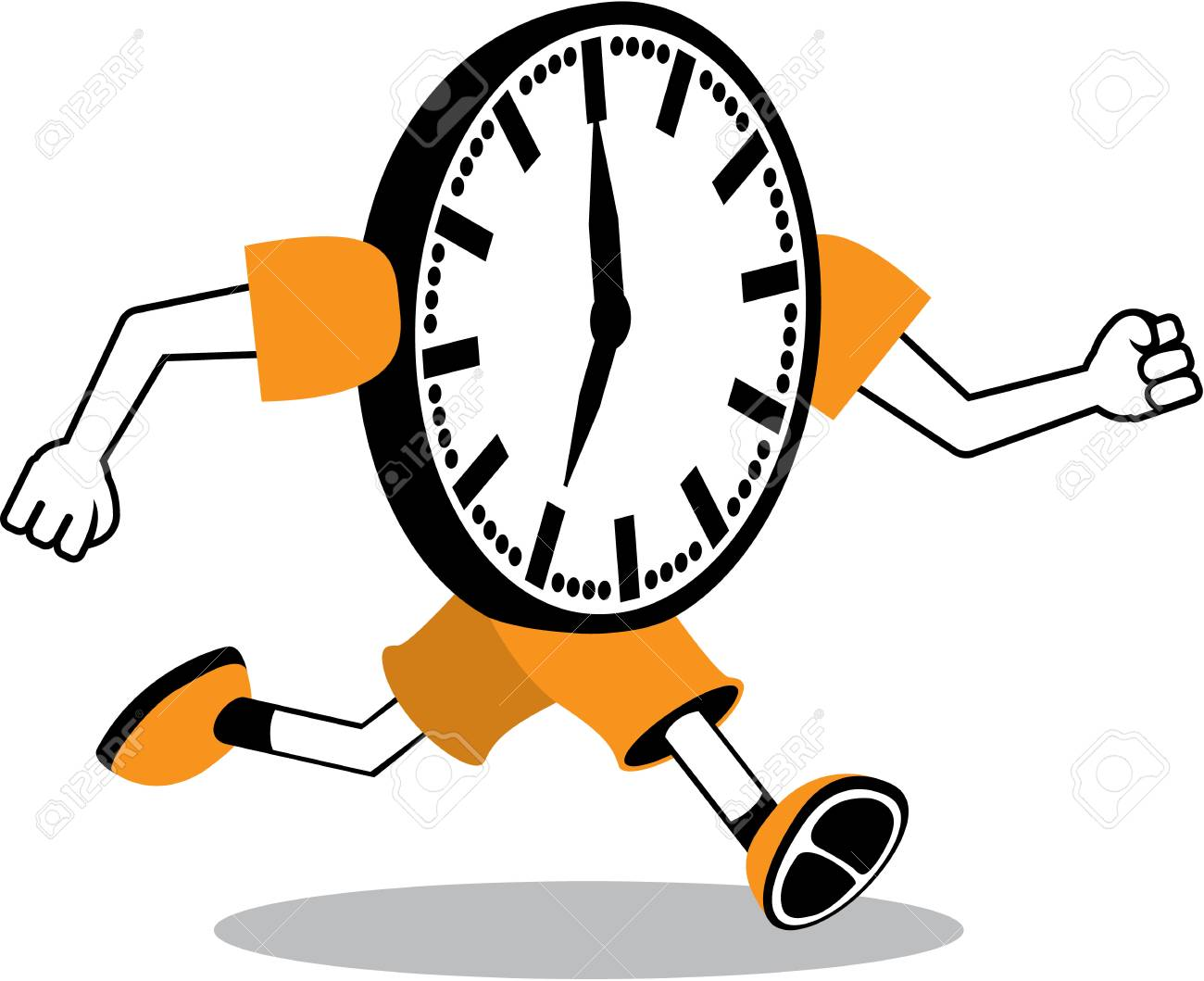 running clock vector illustration clip art royalty free cliparts rh 123rf com Funny Clock Face Clip Art Time Clock Clip Art