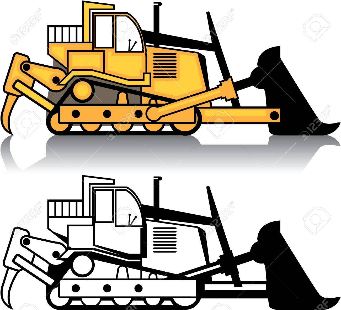 dozer vehicle vector illustration clip art image royalty free rh 123rf com Bulldozer Clip Art Black and White dozer clip art free images