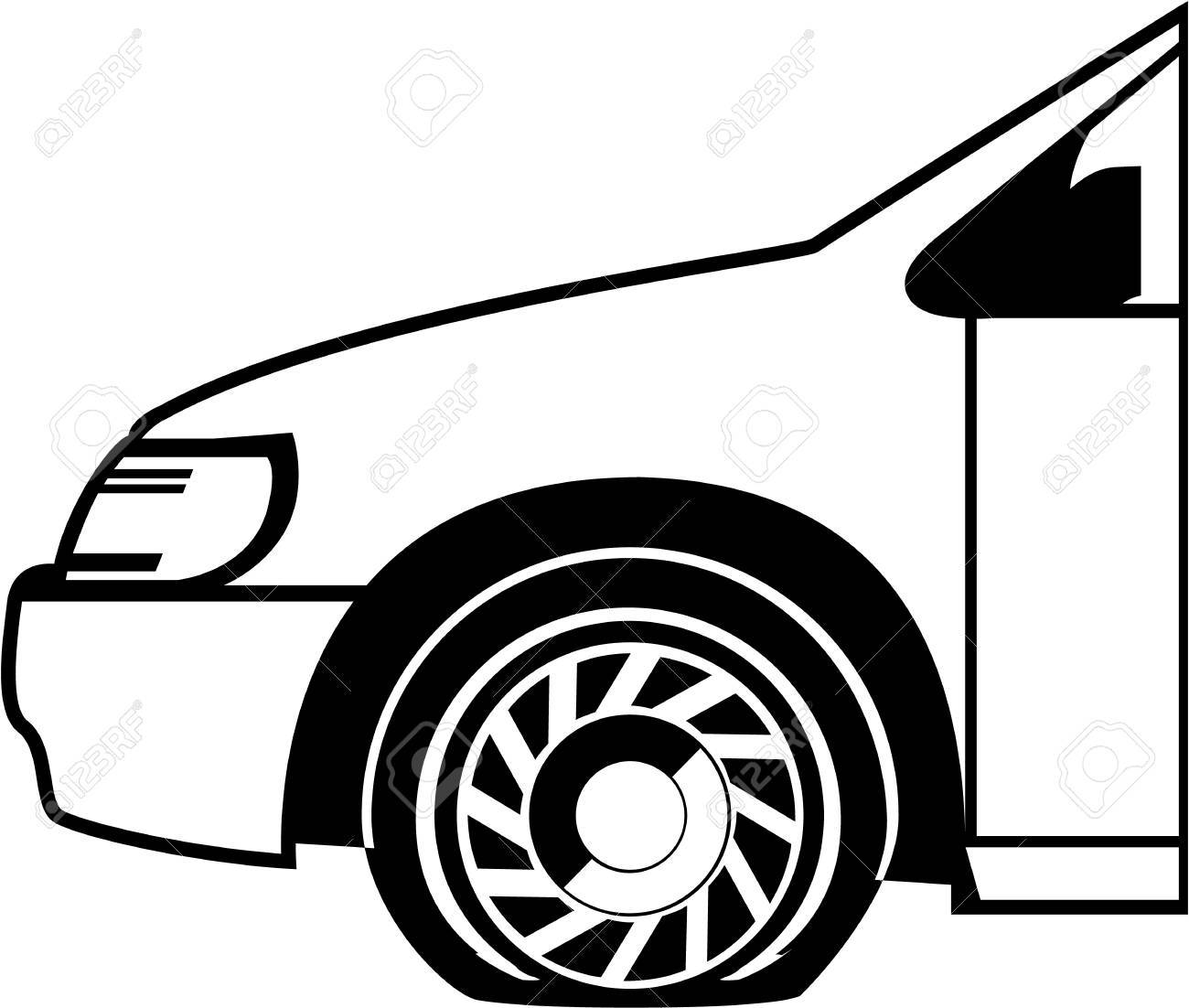 flat tire black and white vector illustration clip art image royalty rh 123rf com tire clipart vector