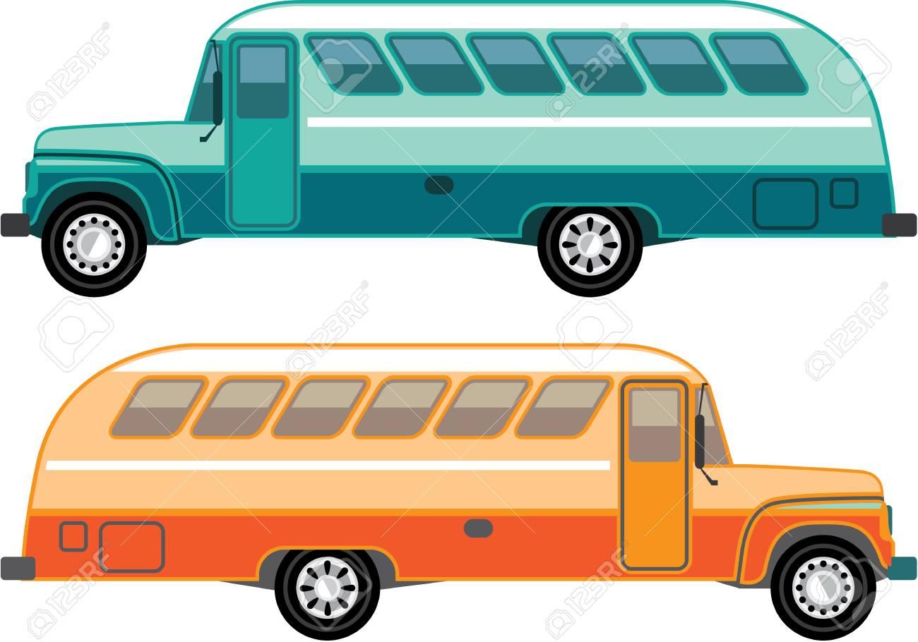 ビンテージ バス ベクター イラスト - クリップアート画像 eps