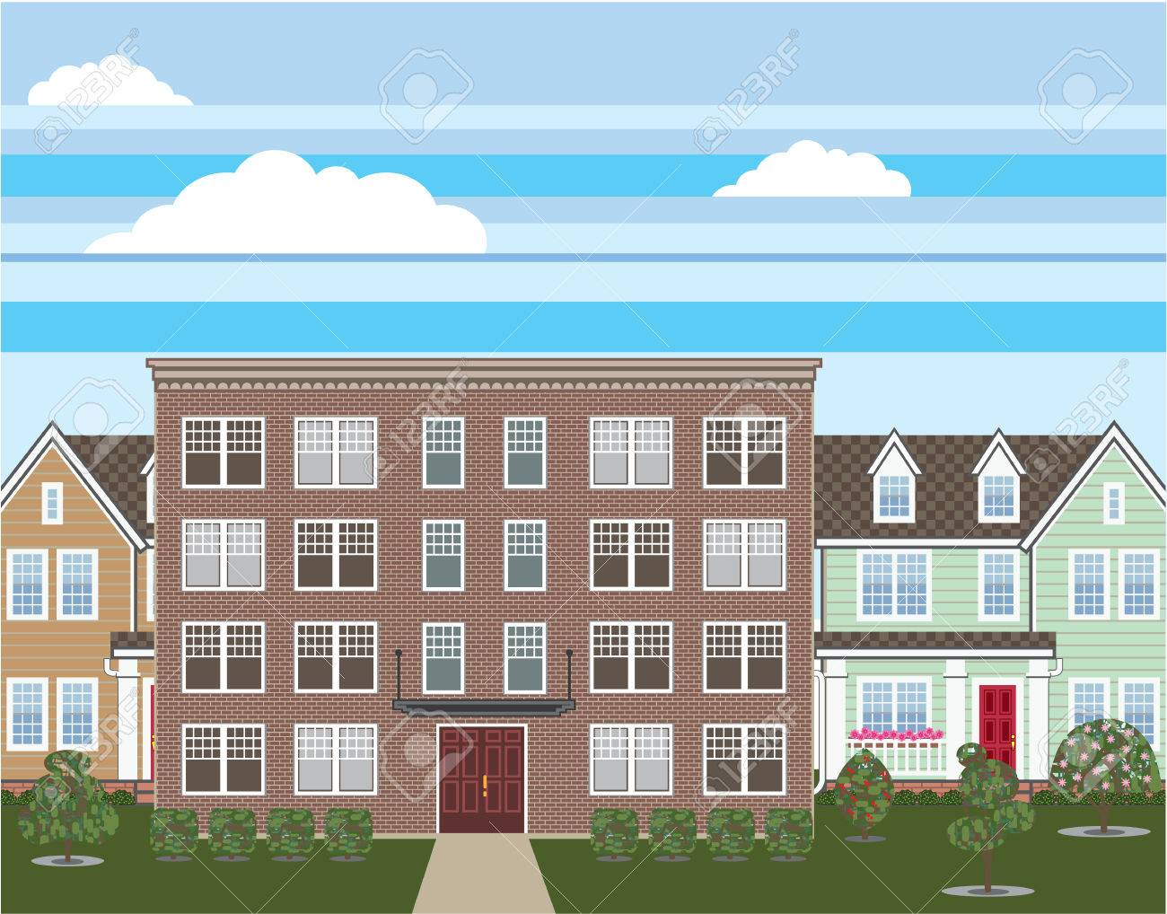 Superb Brick Apartment Building Vector Illustration Stock Vector   69748337