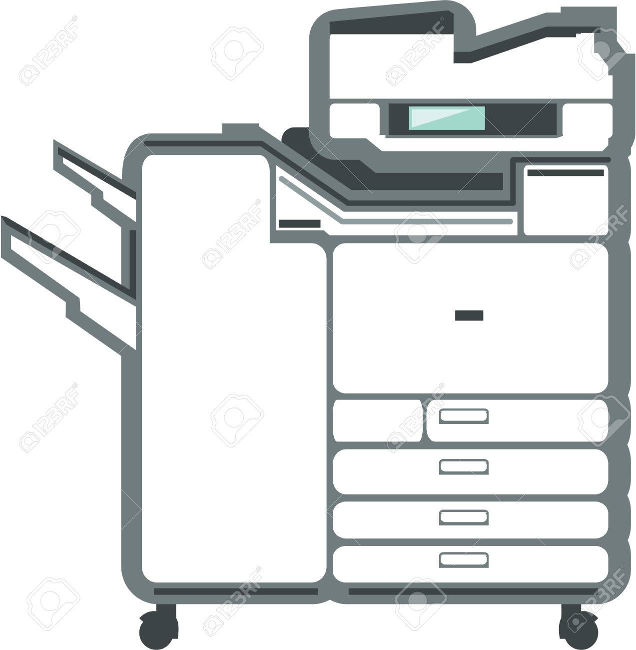 Large Printer Office Equipment Vector Illustration Clip-art ...