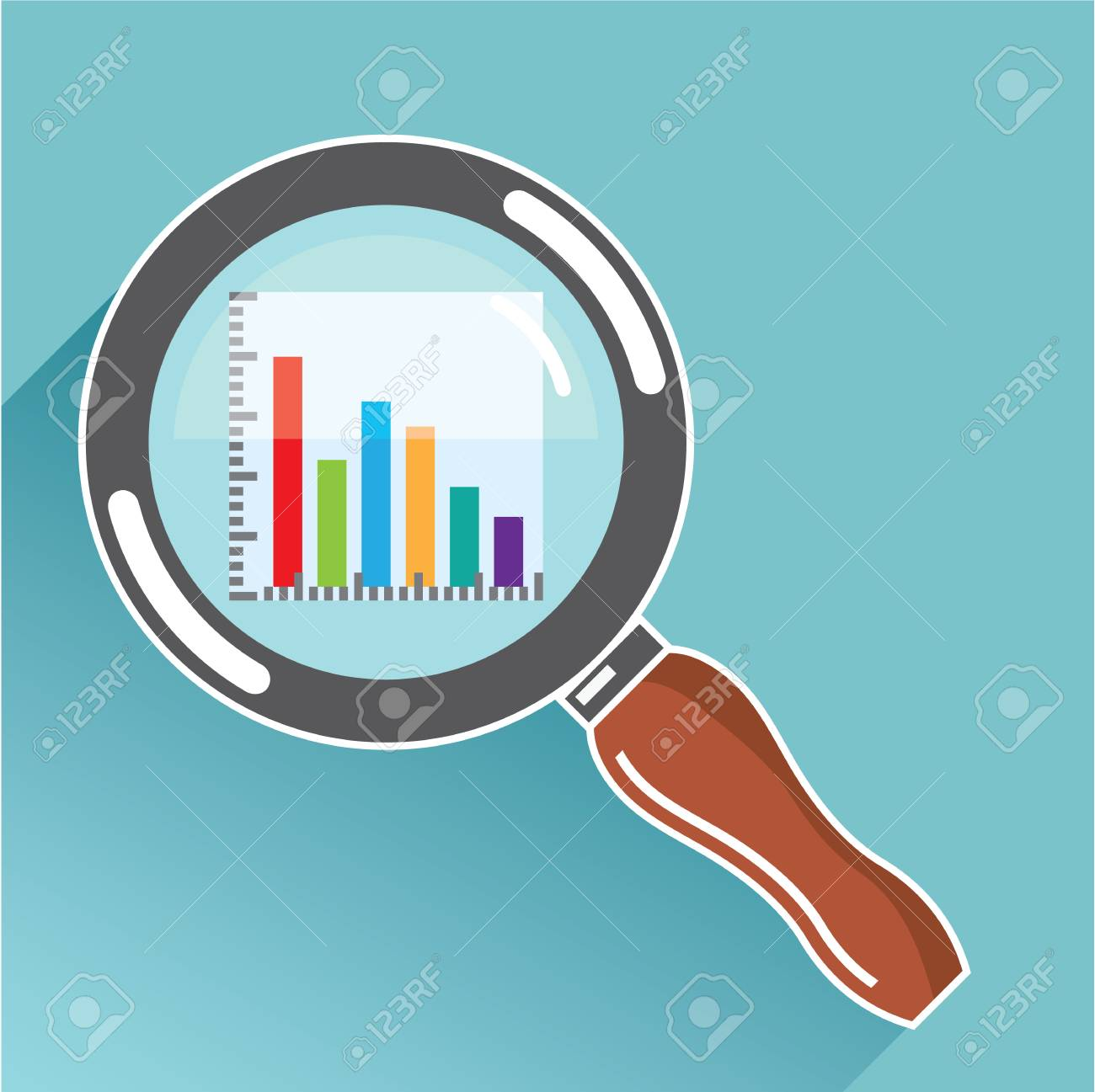 magnifying glass bar graph zoom illustration clip-art image royalty