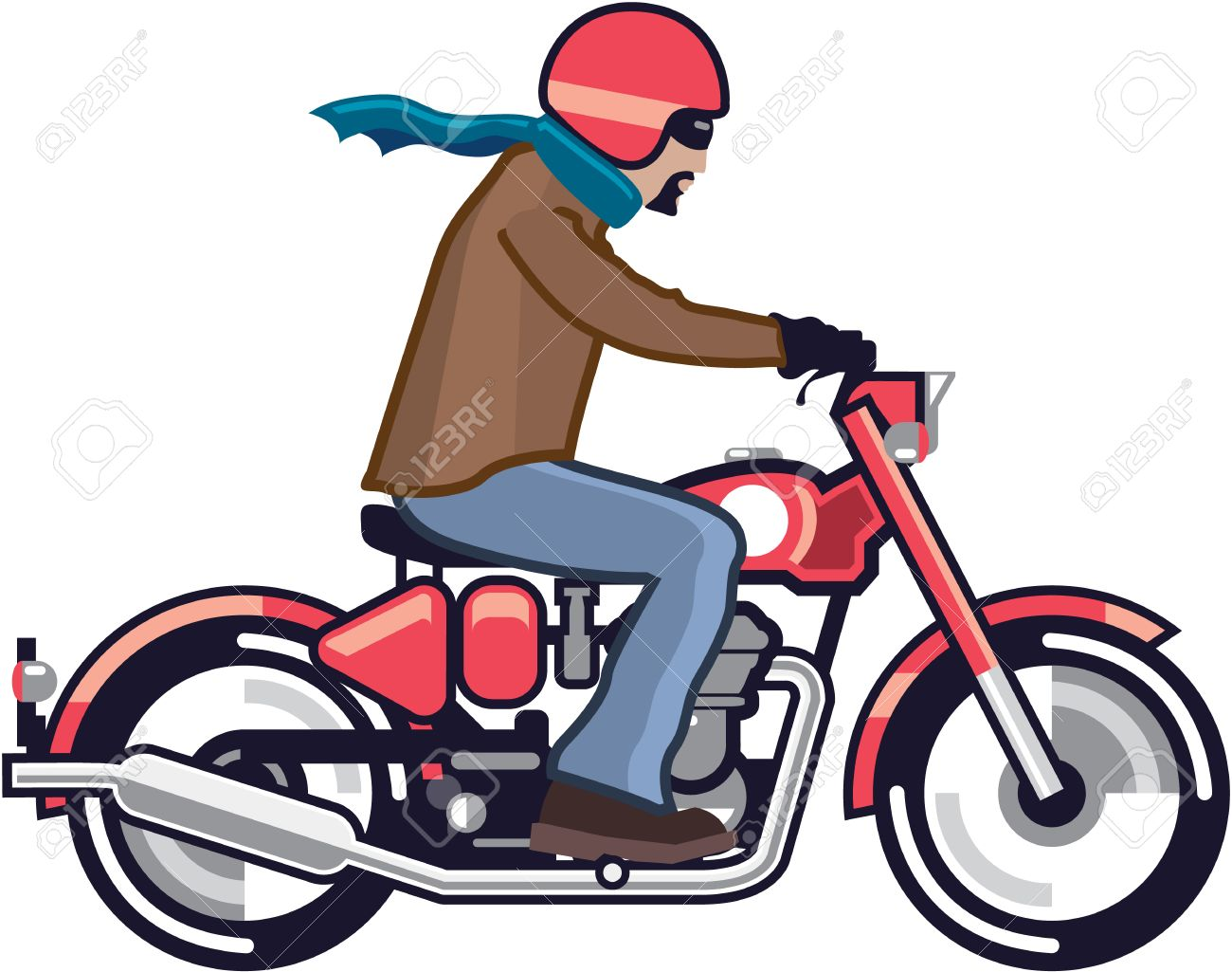dude on the vintage motorcycle vector illustration clip art royalty rh 123rf com  motorcycle racing images clip art