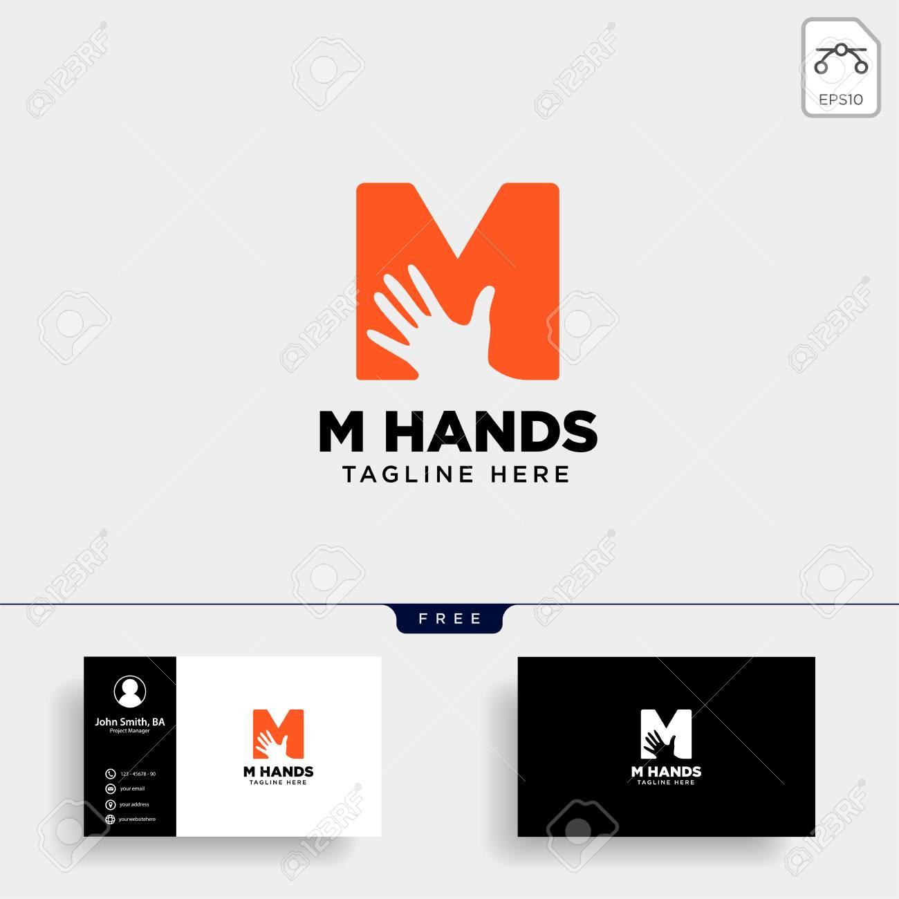 Minimal M Letter Initial Hand Logo Template Vector Illustration