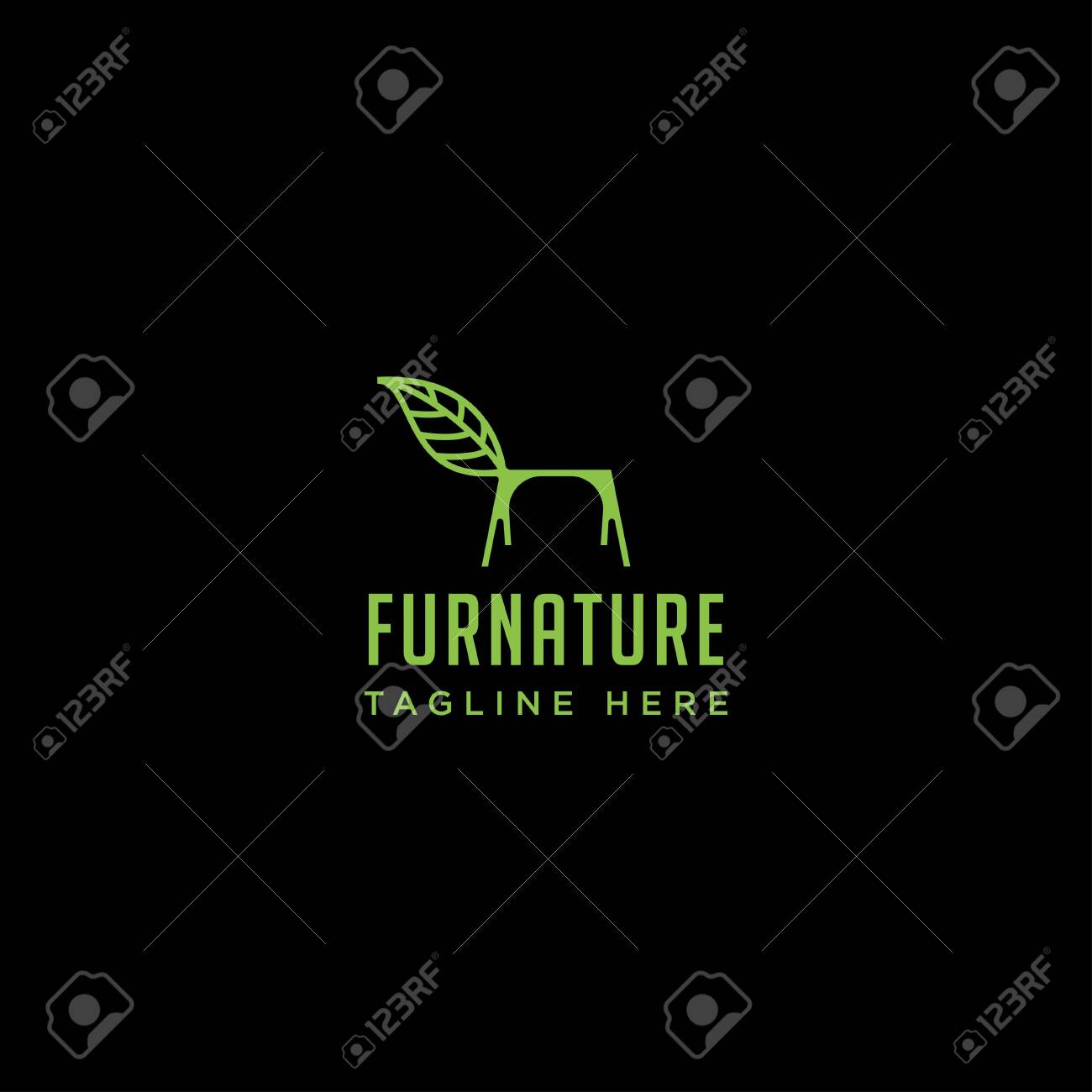Chair Nature Logo Design With Green Color Vector Icon Element
