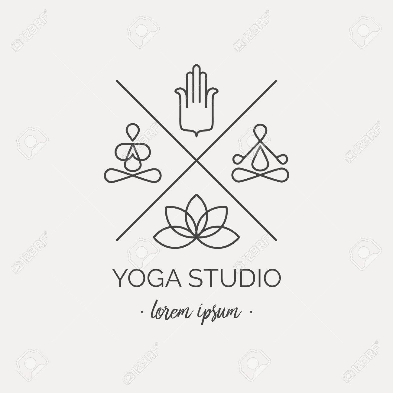 Icone De Yoga Avec Des Asanas Palmiers Et Lotus Pour Cartes