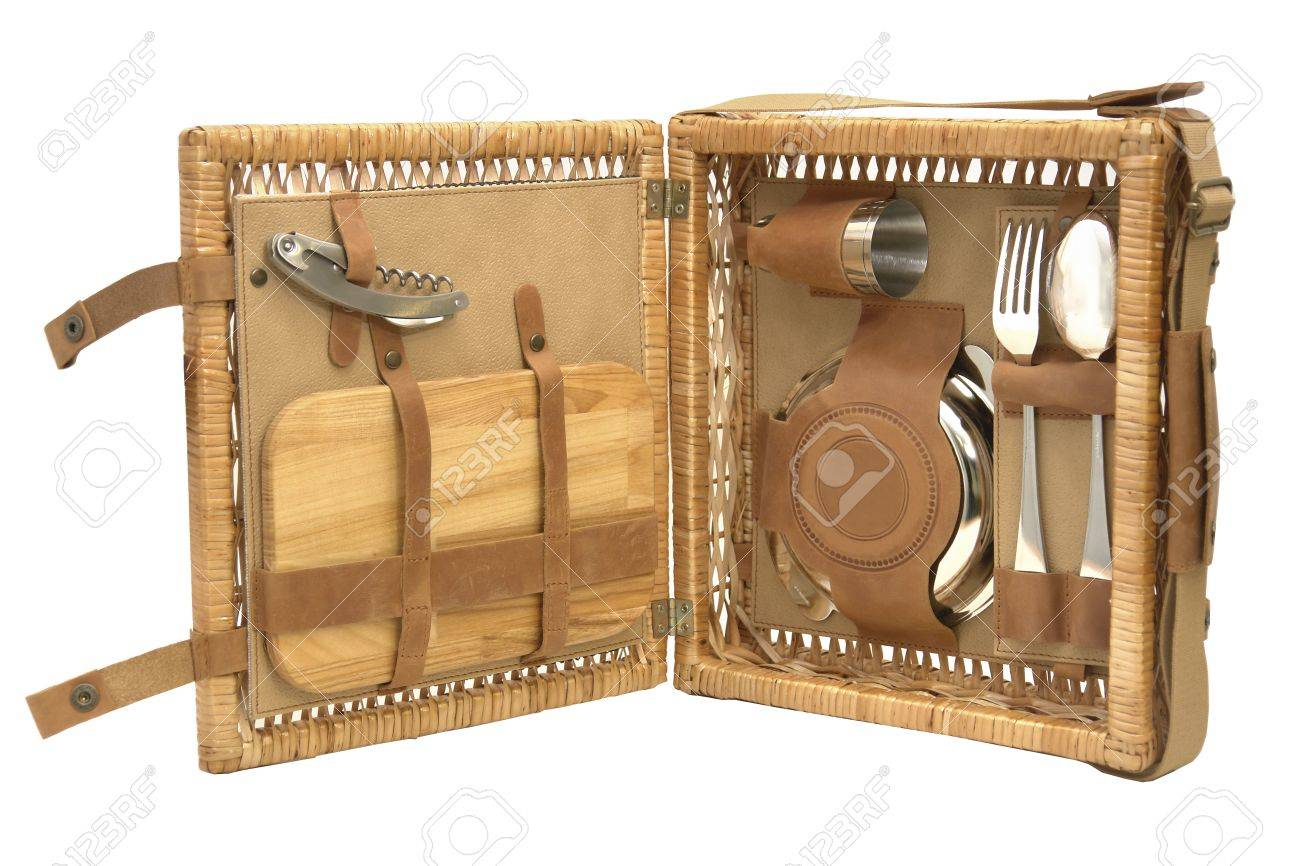 bag for picnic with plate, fork, journey, wineglass, cup, spoon Stock Photo - 16537521