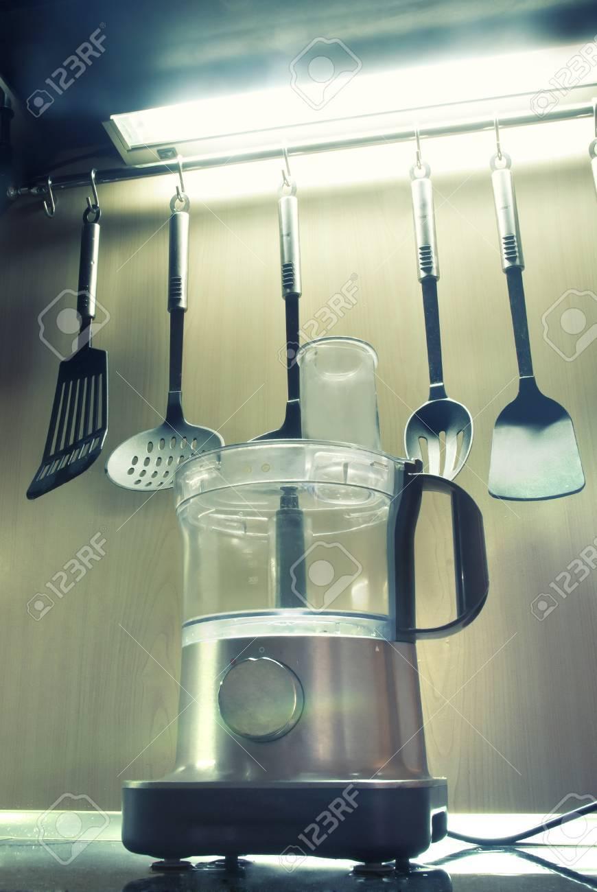 professional food processor at modern kitchen - 32810807