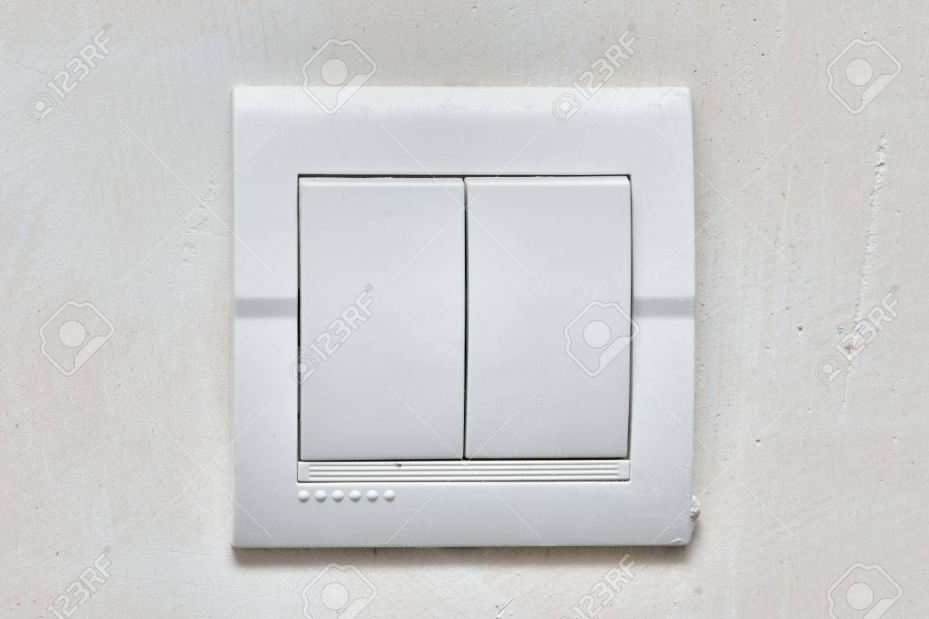 Light White Power Switch On The Wall ( Lighting Switch ) Stock Photo ...