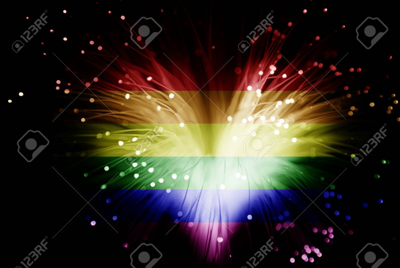 rainbow colored abstract heart made from fibers lights in darkness ( love concept ) - 42782408