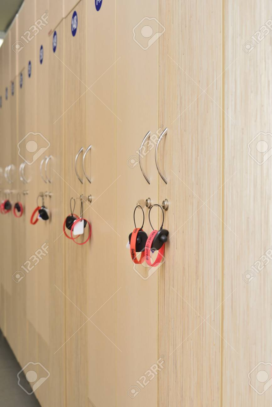 cloakroom in fitness center (boxes in the locker room) - 55080672