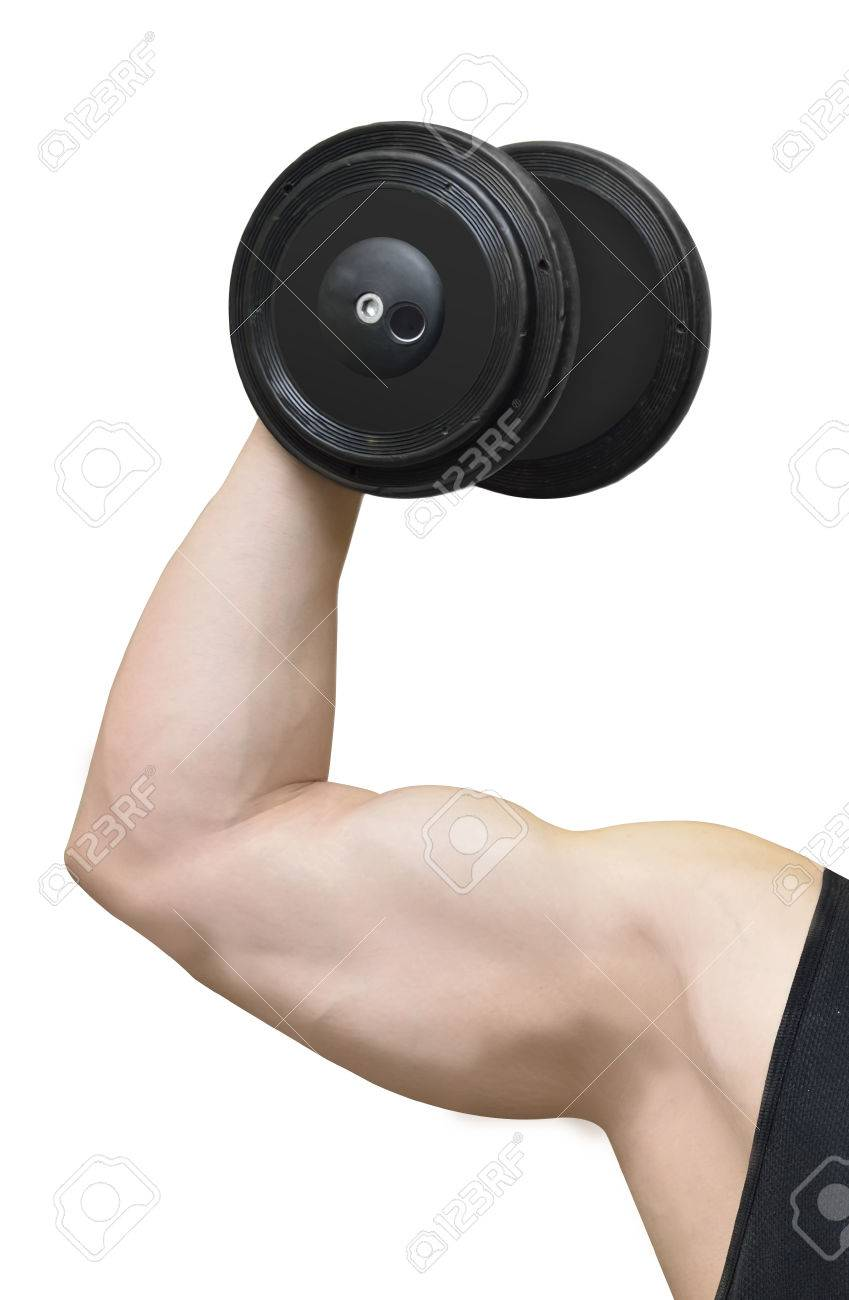 hand with biceps arm shows dumbbell (fitness workout) - 55211834
