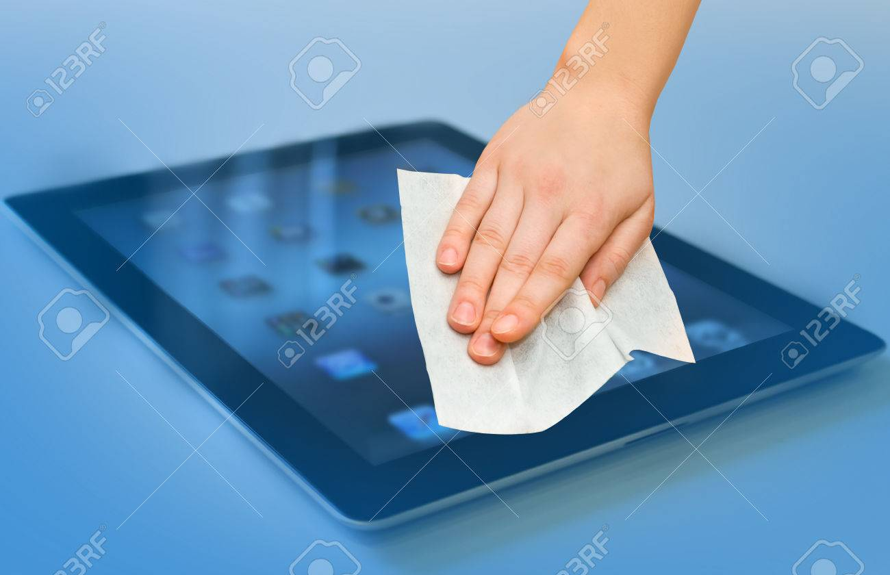 hand with white wet wipe tablet cleaning - 55200044