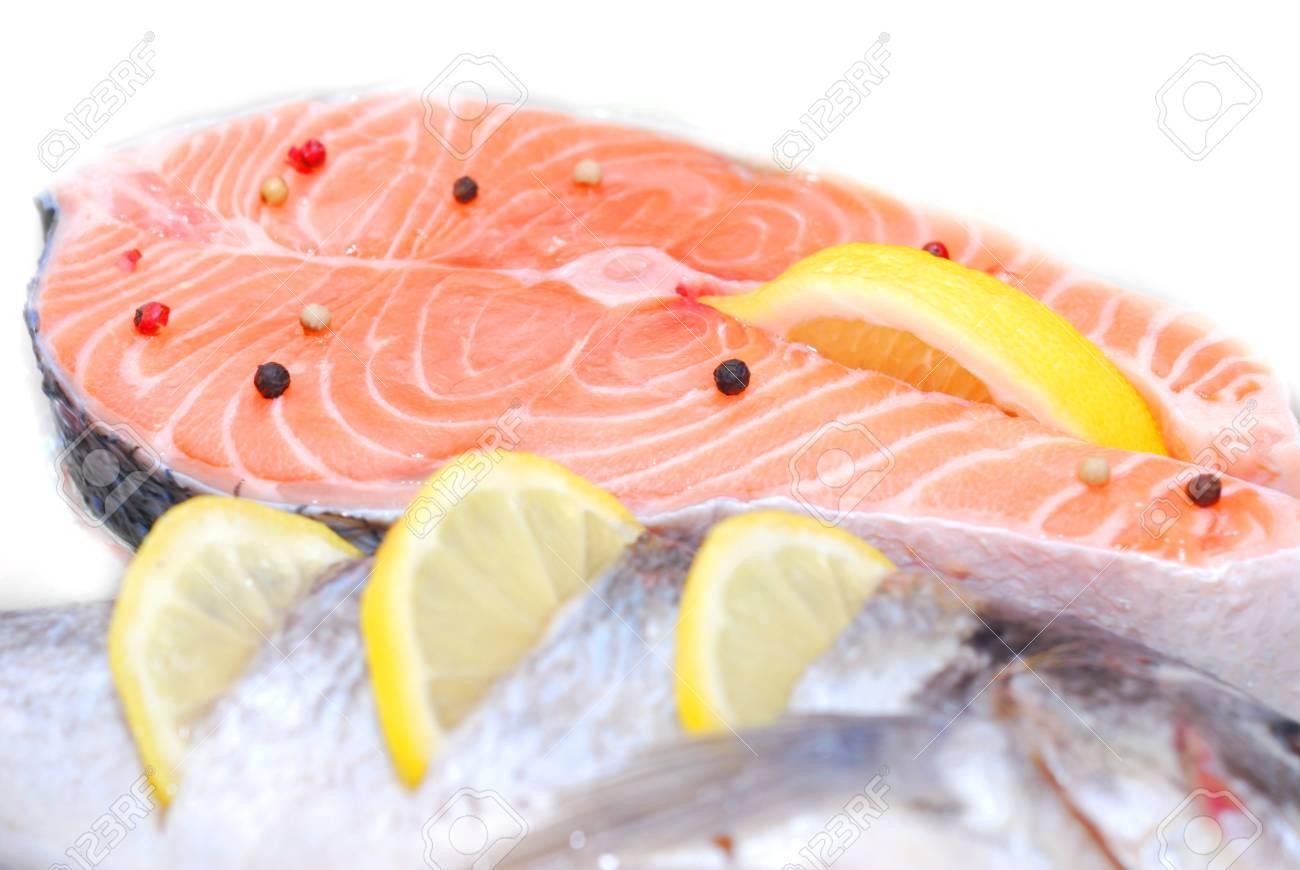 fresh beautiful salmon fish in fridge - 58950156
