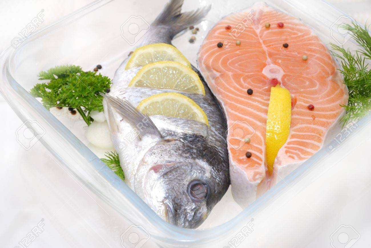 preparation salmon fish fillet before cooking - 58950157