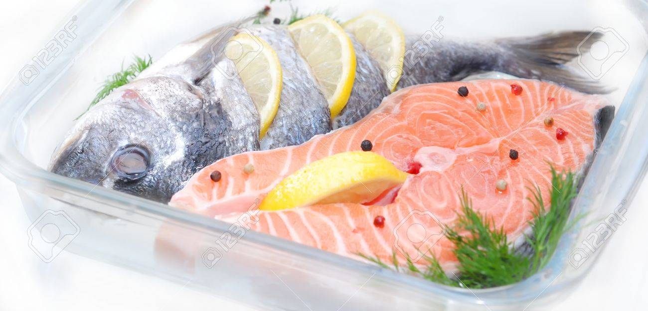 salmon fish defrosting before cooking - 58948871