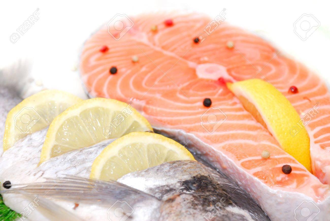 salmon filet in fridge in supermarket - 58948872