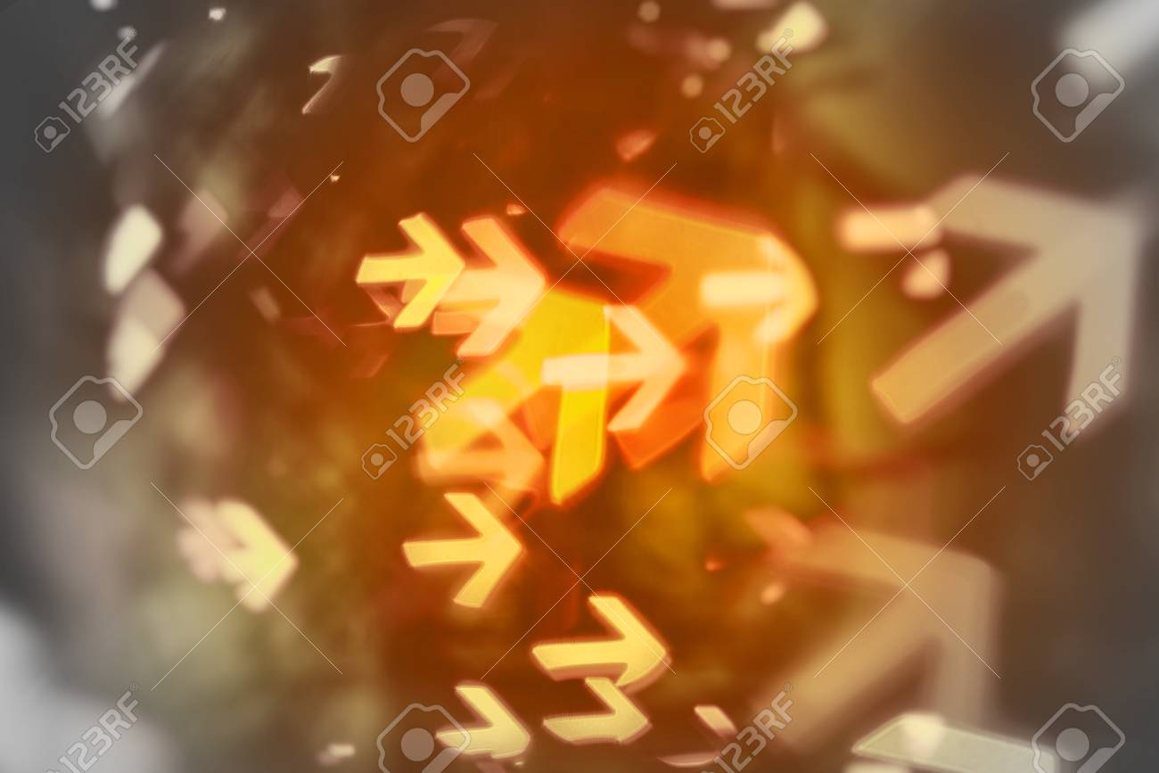 arrows shows way of direction to business goal (abstract blur background) - 59260425